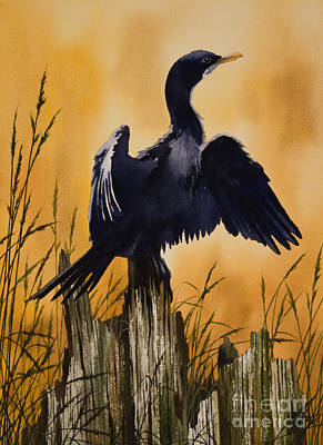 Pilings Painting - Cormorant Sunset by James Williamson