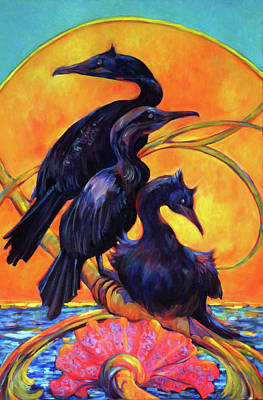 Cormorants In Sunset Art Print by Peggy Wilson