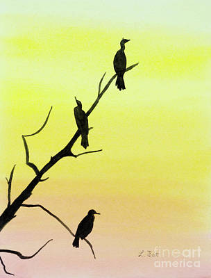 Painting - Cormorants by Laurel Best