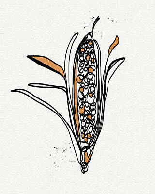 Fall Drawing - corn- contemporary art by Linda Woods by Linda Woods