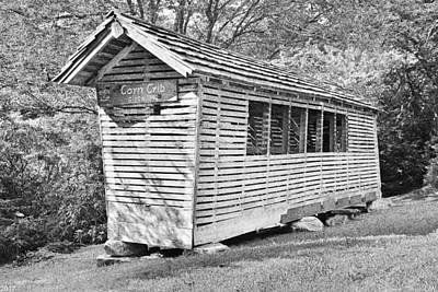 Photograph - Corn Crib Circa 1840 Black And White by Lisa Wooten