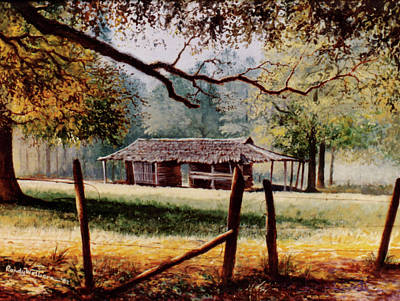 Painting - Corn Crib by Randy Welborn