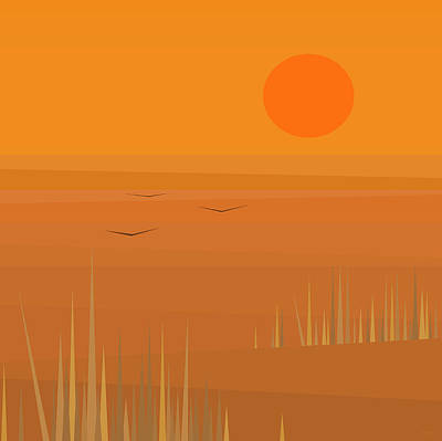 Digital Art - Corn Field Sunset - Square by Val Arie