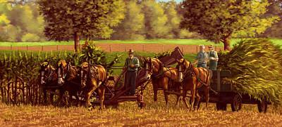 Painting - Corn Harvest by Hans Neuhart