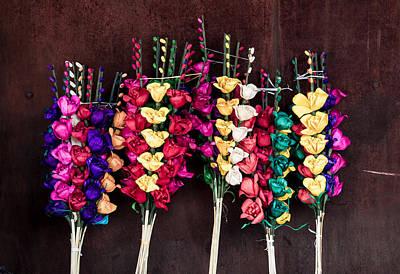 Photograph - Corn Husk Flowers by IK Hadinger