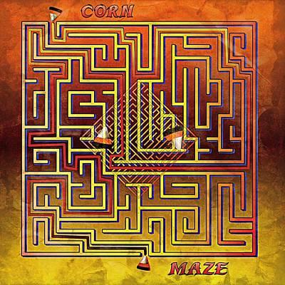 Candy Corn Digital Art - Corn Maze - Grunge by Steve Ohlsen