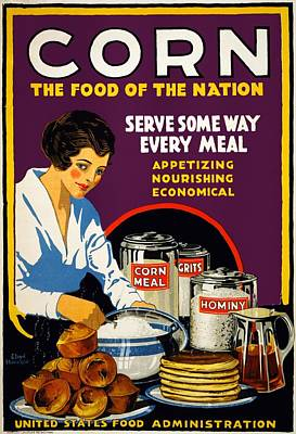 Royalty-Free and Rights-Managed Images - Corn The Food Of The Nation - United States Food Administration - Vintage Advertising Poster by Studio Grafiikka