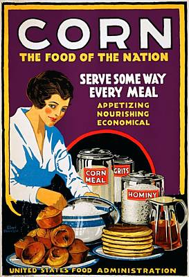 Painting - Corn, The Food Of The Nation, Us Food Administration Poster, 1918 by Vintage Printery