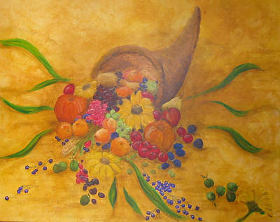 Horn Of Plenty Painting - Corne D by Margot Koefod