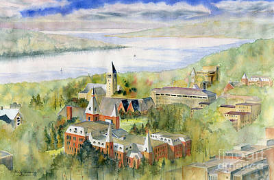 Library Painting - Cornell University by Melly Terpening