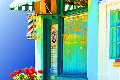 Bass Digital Art - Corner Barber Shop by Noel Zia Lee