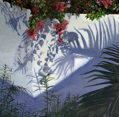 Corner Bougainvillas Art Print by Podi Lawrence
