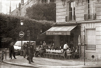 Photograph - Corner Cafe Typical French Sepia Tones Paris  by Chuck Kuhn
