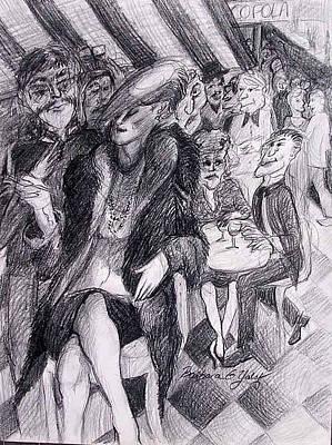 Drawing - Corner Cafe Woman by Barbara Yalof