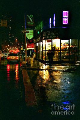 Corner In The Rain Art Print by Miriam Danar