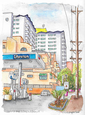 Corner La Cienega Blvd. And Hallway, Chevron Gas Station, West Hollywood, Ca Art Print