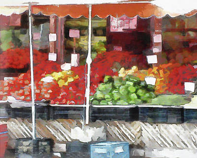 Digital Art - Corner Market by Leslie Montgomery