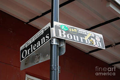 Corner Of Bourbon Street And Orleans Sign French Quarter New Orleans Art Print