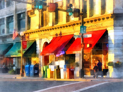 Traffic Light Photograph - Corner Of Center And Merchant Rutland Vt by Susan Savad