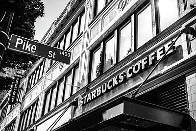 Photograph - Corner Of Pike St And Starbucks by Anthony Doudt