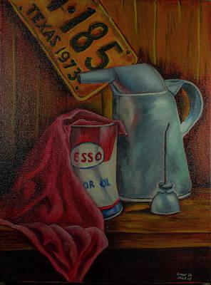 Esso Oil Painting - Corner Of The Garage by Simon Salt