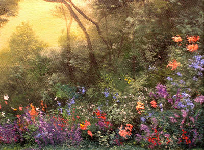Corner Of The Garden Art Print by Connie Tom