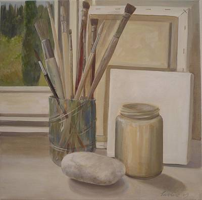 Painting - Corner Of The Studio. by Caroline Philp