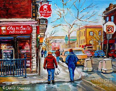 Montreal Cityscapes Painting - Corner Pastry Shop Montreal Winter Scene Painting Rue St Viateur Quebec Art Carole Spandau          by Carole Spandau