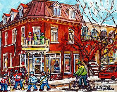 Painting - Corner Store Paintings Depanneur Hockey Art Canadian Winter City Scenes Carole Spandau               by Carole Spandau