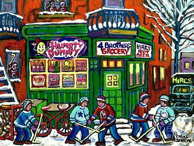 Delivery Truck Painting - Corner Store Paintings Vintage Grocery Humpty Dumpty 4 Brothers Hires Root Beer Truck Canadian Art by Carole Spandau