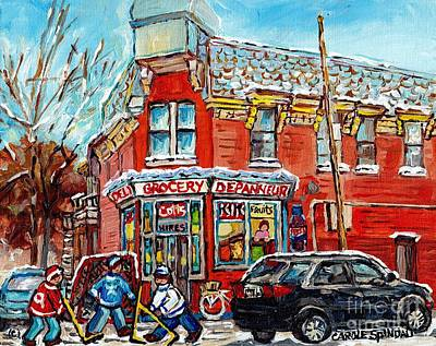 Painting - Corner Store The Point Depanneur Painting Quebec Hockey Art Carole Spandau by Carole Spandau
