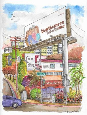 Tea And Coffee Painting - Corner Sunset Blvd. And Hold, The Coffee Bean, West Hollywood, California by Carlos G Groppa