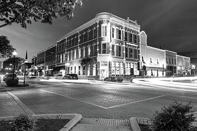 Cafes At Night Photograph - Corner View In Black And White- Downtown Bentonville Arkansas Town Square At Night by Gregory Ballos