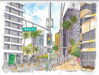 Corner Wilshire Blvd. And Gale Dr., Beverly Hills, Ca Art Print by Carlos G Groppa