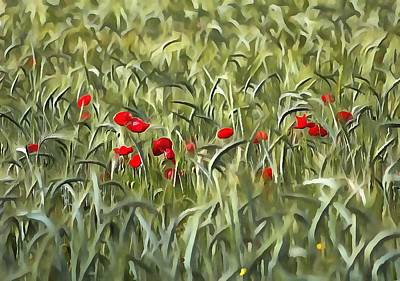 Painting - Cornfield Poppy Landscape by Tracey Harrington-Simpson