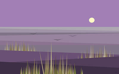 Cornfield With A Purple Sky Print by Val Arie