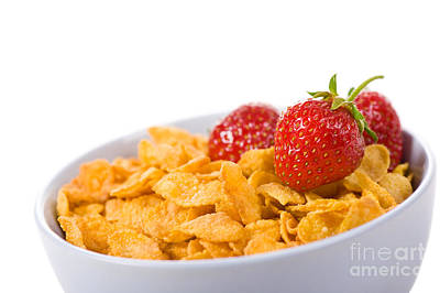 Cornflakes With Three Fresh Strawberries In Bowl  Art Print by Arletta Cwalina