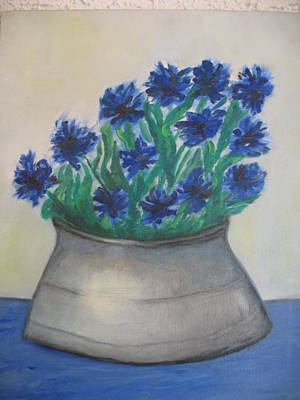 Cornflower Art Print by Maria  Kolucheva