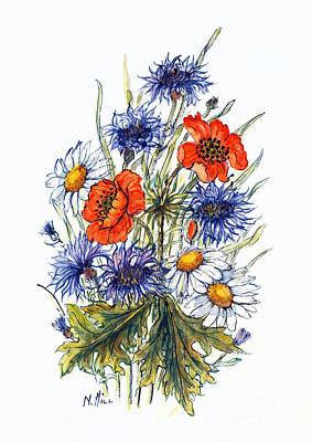 Wild Flowers Drawing - Cornflower, Poppy And Ox Eye Daisy by Nell Hill