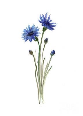 Abstract Poster Painting - Cornflowers Art Print, Minimalist Watercolour Painting, Blue Green Brown Wall Decor by Joanna Szmerdt