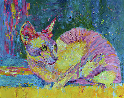 Cornish Rex Cat Painting - Cat Portrait Pet Painting Original Impasto Art by Magdalena Walulik