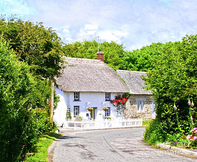 Photograph - Cornish Thatched Cottage by Terri Waters