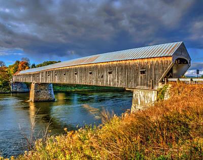 Photograph - Cornish Windsor Covered Bridge 3547 by Jeff Stallard