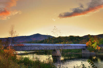 Autumn In New England Photograph - Cornish Windsor Covered Bridge In Autumn by Joann Vitali