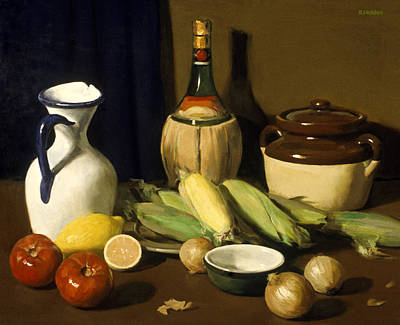 Painting - Corn,tomatoes And Onions With Lemon by Robert Holden