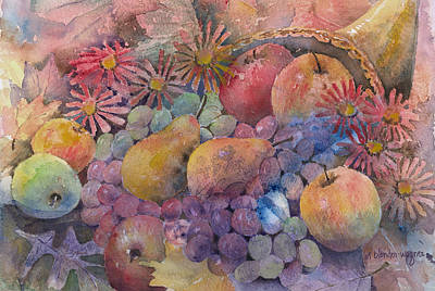 Apple Watercolor Painting - Cornucopia Of Fruit by Arline Wagner