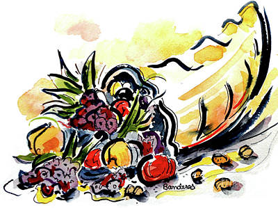 Horn Of Plenty Painting - Cornucopia by Terry Banderas