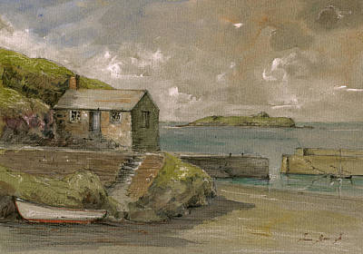 Channel Wall Art - Painting - Cornwall Mullion Cove Harbour Lizard -english Channel - by Juan  Bosco