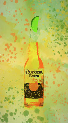 Beer Mixed Media - Corona Bottle With A Lime by Dan Sproul