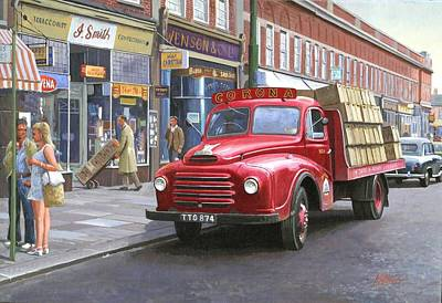 Streetscenes Painting - Corona Drinks Lorry. by Mike  Jeffries